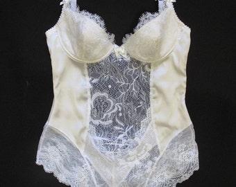 Bridal lace lingerie bodysuit - Ivory bodysuit - Silk bodysuit