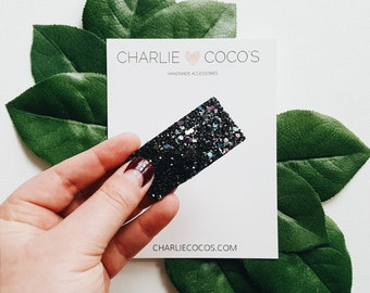 Halloween Black Glitter Snap Hair Clip // Baby Girl Midnight Glitter Snap Hair Clip by charlie coco's