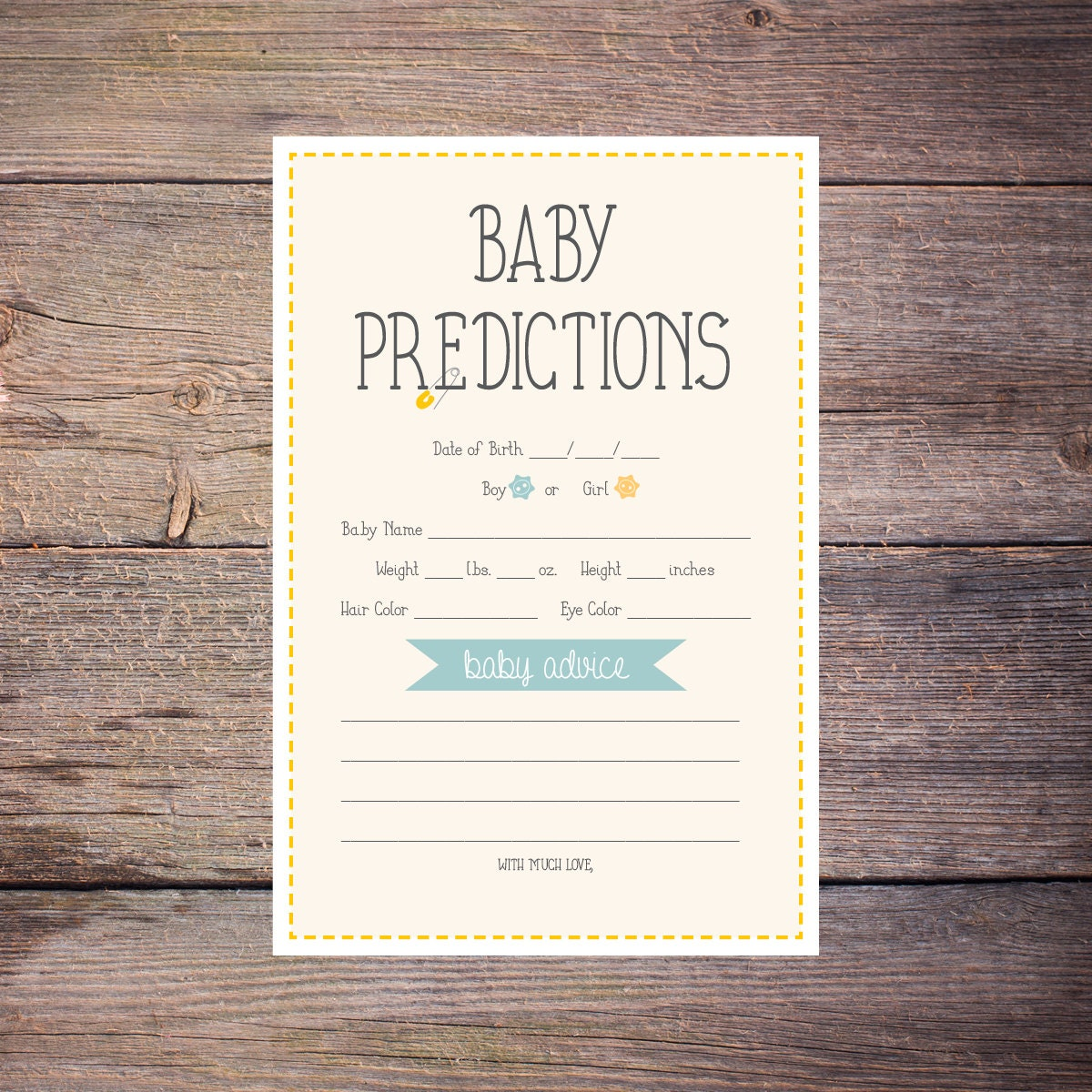 Printable Cute as a Button Baby Prediction Shower Game