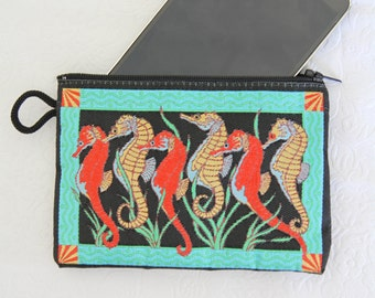 Seahorse Purse, Coin Purse, Coin Pouch, Change Purse, Zipper Pouch, Coin Bag, Change Bag, Small Pouch, Key Purse, Fabric Purses, Mothers Day