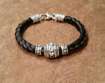 Sterling Silver Horseshoe Heart Beads on Braided Horsehair Bracelet with Heart Clasp EXCLUSIVE DESIGN!