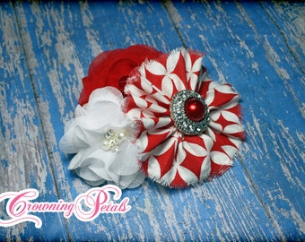 Red, White Hair Bow, White Red Headband, Patriotic Hair Accessory, Fabric Flower Clip, Baby Hair Bow, July 4th Hair Piece, Red Diamond Hair