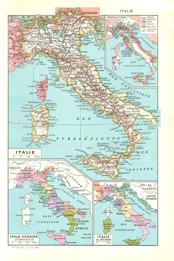 Map Of Italy Vintage Italy Map Antique Map Of Italy Gift - Italy world map