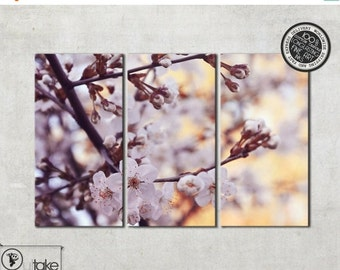 Summer sale 15% OFF Cherry Blossoms, Canvas art, Cherry tree, Triptych canvas, Triptych art, Ready to hang, Flower Photography