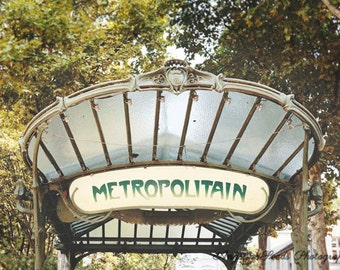 Paris metro photograph, Metro pictures, art nouveau, travel photography, wanderlust, streetscene, landmark, green, vintage, gift, wall decor