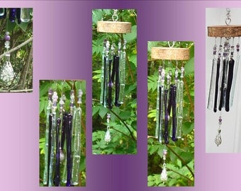 Amethyst  Glass Windchime, Wood Wind Chime, Stained Glass Garden Decor, Suncatcher Hanging Tree Mobile