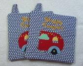 Happy Campers Pot Holder Quilted Embroidered Hot Pad Set of 2 - Hot Pad/Pot Holders Trivet Ready to Ship