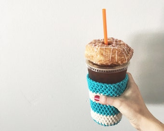 aqua and white iced coffee cup cozy. coffee cup cozy. Crochet coffee cozy. cotton cup cozy. Eco friendly cup sleeve. Summer drink cozy.