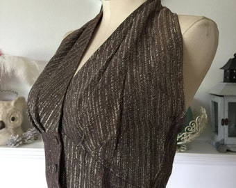 50s Espresso and Silver Party Halter Top