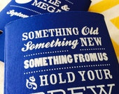 Something from Us to Hold your Brew Wedding favors, something borrowed something blue, Something Old wedding can cooler (50 qty)