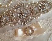 Garter-Wedding Garter-Bridal Garter-Ivory-SALE-CUSTOM-Lace Garter-Rhinestone Garter-Applique Garter-Vintage-Garter Belt-stretch lace-Garter