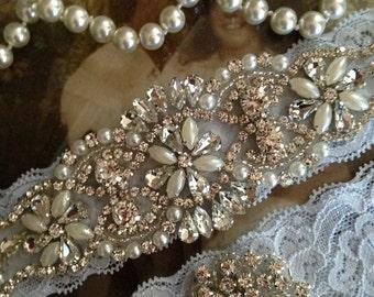Wedding Garter-Garter-Garters-Rhinestone Garter-Blue-Something Blue-Ivory-Lace-garter belt-lace-bridal garter-accessories-pearl-vintage