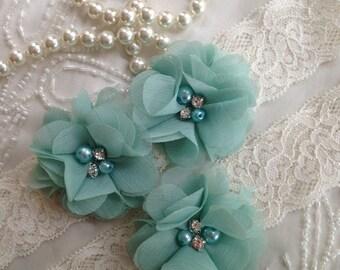SALE-CUSTOM-Wedding Garter-Aqua-Navy-Chiffon-Shabby-Flower-Pearl-Rhinestone-garter belt-Rhinestone Garter-Vintage-Bridal Garter-Toss Garter