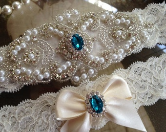 Garter-Wedding Garter-Bridal Garter-Ivory Lace-Rhinestone Garter-Applique Garter-Vintage-Turquoise-Blue-White-Garter Belt-Purple-Red-Pink