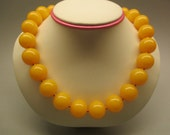 Amber Fashion Necklace Handmade Round 20.0 mm Yellow Color Pressed Man-Made #117