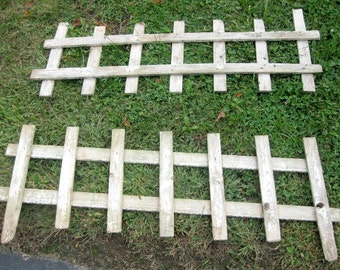 Vintage Wood Garden Fence Two Sections 1980's, Primitive, Cottage Chic, HoBo, Steampunk