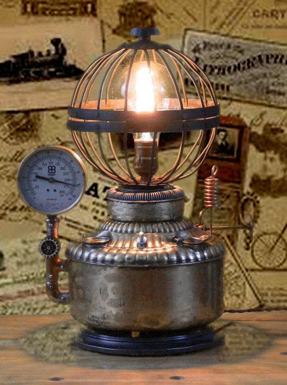 Steampunk Lamp Gears Gauges Pipes Fuel Tank By Mastergreig