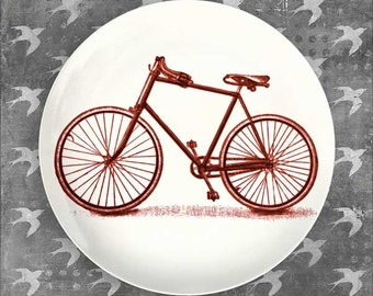 Red bike melamine plate dinnerware