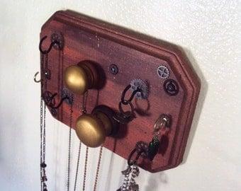 Large Steampunk Jewelry Display Organizer - Industrial Steampunk Decor - Industrial Chic Necklace Holder - Decorative Steampunk Key Holder