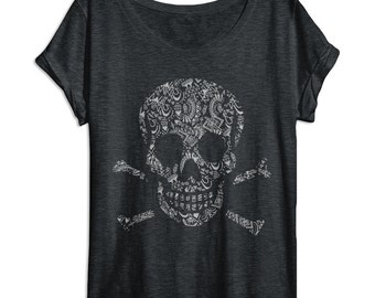 Womens Skull Shirt - Aztec Pattern - Oversized - Off Shoulder - Dolman - Vintage Clothing - Skull and Bones - Ladies