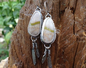 Royston Ribbon Turquoise Earrings in Sterling Silver. Tan, Beige, Olive Green Ribbon Stones. Artisan Made with Sterling Silver Feathers.