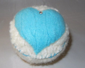 Felted Heart Cupcake, Heart Pin Cushion, Cupcake Pincushion
