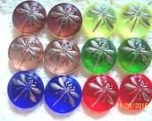 Czech  Glass Cabochons  12 pcs DRAGONFLY  platinum      18mm     IVA 009