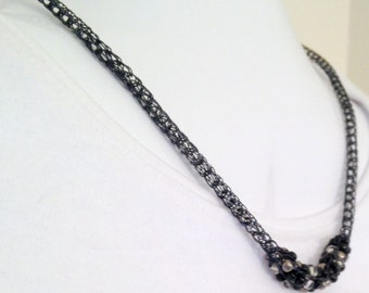 Ladies hematite black viking knit necklace with beaded focal