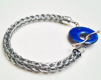 Viking knit bracelet pewter with cobalt blue enameled toggle clasp