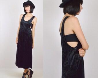 90's Crushed Velvet Dress Vintage Black
