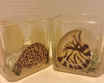 Candle holders, sea shells and sand, hand painted, set of 2