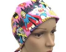Women's Pixie Scrub Hat - Super Girl, Wonder Woman, Bat Girl Pixie Tie-back Scrub hat - Woman Super Heroes Pixie