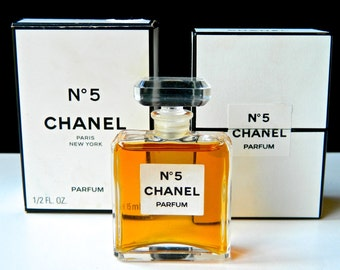 Vintage CHANEL No 5 1/2 oz Pure Perfume 1970s Crystal Stopper Both Boxes Near Mint