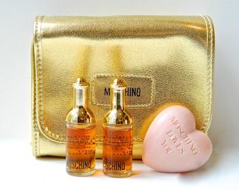 Vintage Valentine MOSCHINO Moschino Perfume Gift Bag 2 Mini 4 ml Eau de Toilette Heart Vanity Soap Beautiful Gold Gift Bag Gauze Wrapped