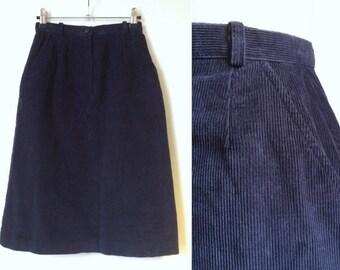 Vintage 80's Cord Skirt - Dark Blue 1980's Skirt - XS - Navy Cord Pencil Skirt
