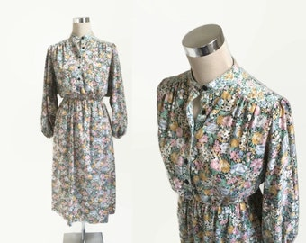 1970's Vintage Dress - 70's Dress - Grandad Collar Floral Print Midi Dress