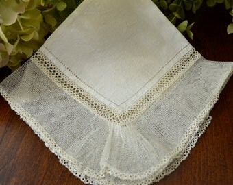 Antique Wedding Handkerchief Light Ivory Net Lace 3436