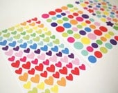 3 sheets Korea Colorful sticker Combo - Heart, Star and Round shape