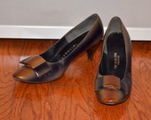 Designer Shoes, Brown and Blue Heels, Women's Pumps Size 7, Size 7.5, Herbert Levine Brown and Blue Leather Women's Vintage Shoes