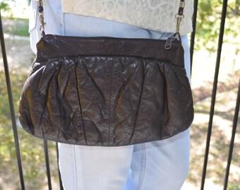 Dark Brown Purse, Vintage Clutch, Brown Clutch, Vintage Leather Purse, Women's Shoulder Bag, Removable Strap