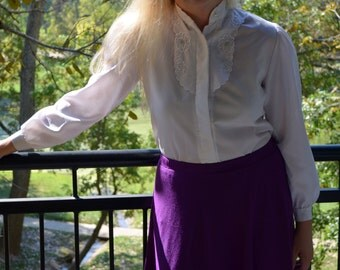 White Blouse, Women's Button Up Shirt, Size 10, Angela Pellino White Vintage Ladies' Blouse, Long Sleeved Blouse, Office, Secretary