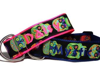 "Personalized Sugar Skull Dog Collar - Nylon Custom 2"" Dog Collar with Color Options"