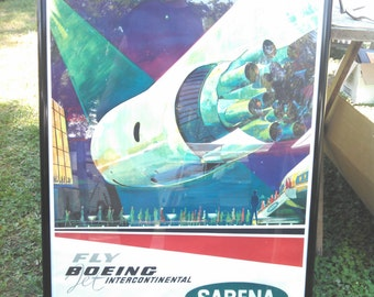 Rare Sabena Airlines Boeing International large poster 60's