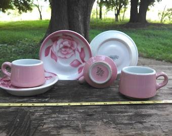 MCM pink airbrush Sterling & mod Shenango China restaurant ware 1950s