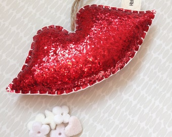 Red lips decoration- glittery red lips, door hanging, hot lips, red lipstick