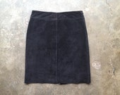 vintage 1990s black suede skirt. Express leather skirt. retro clothing. size 6 medium.