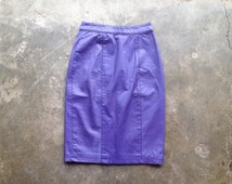 vintage 80s purple leather pencil skirt. retro clothing.
