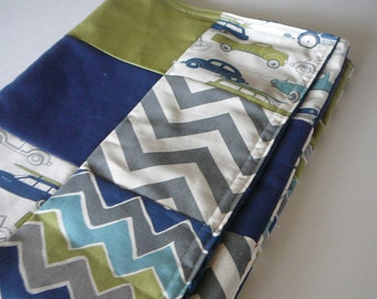 Retro Rides Patchwork Baby MInky Blanket or Quilt