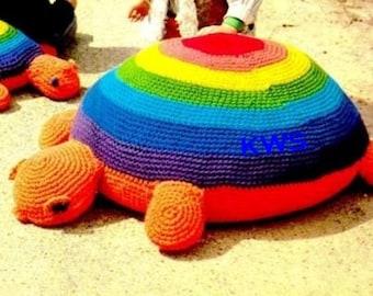 """Crochet Pattern - Vintage 70s """"TURTLE"""" Floor Pillow - PDF Crochet Pattern"""