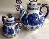 Pair Gzhel-style teapots - bird hen chicken rooster - decorative teapot - blue white gold decoration - Russian - Moscow - porcelain folk art